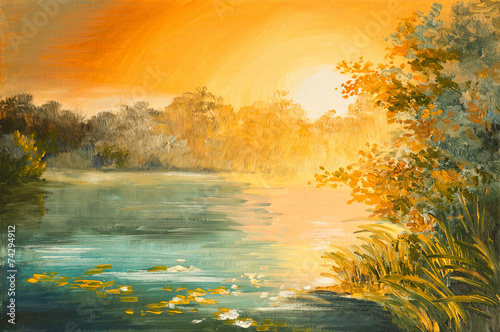 Fototapety, obrazy: Oil Painting - sunset on the lake, colorfull art drawing