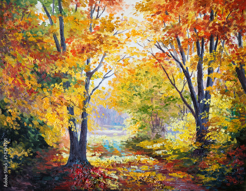 oil painting on canvas - autumn forest - 74294921