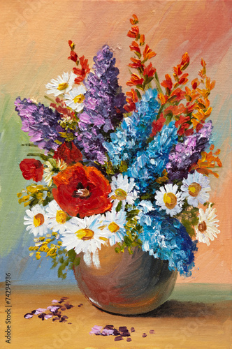 Fototapety, obrazy: Oil painting of spring flowers in a vase on canvas. Abstract dra