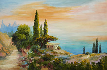 Oil Painting On Canvas - House On The Beach