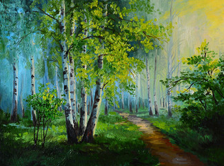 Fototapetaoil painting landscape - birch forest, abstract drawing, made in