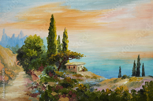 oil painting on canvas - house on the beach