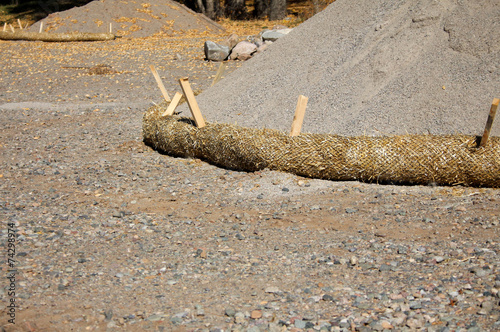 Fotografia Pile of Construction Material with Erosion Control