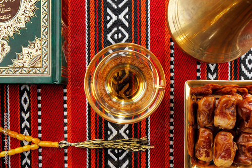 Fotobehang Midden Oosten Iconic Abrian fabric tea and dates symbolise Arabian hospitality