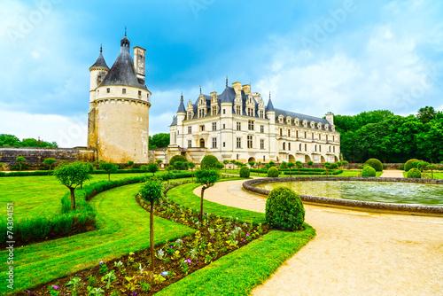 obraz PCV Chateau de Chenonceau UNESCO zamek średniowieczny francuski gar i basen