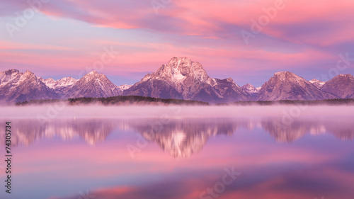 Aluminium Prints Candy pink Grand Teton mountain range, Jackson Lake