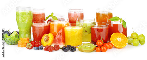 Photo Stands Juice Glasses of tasty fresh juice, isolated on white