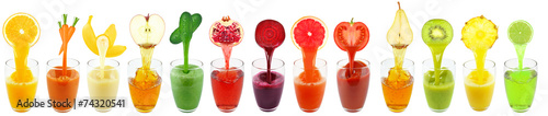 Poster Sap fruit juices isolated