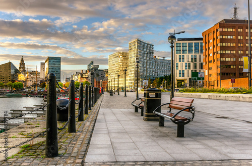 City on the water Footpath on Liverpool Waterfront at Sunset