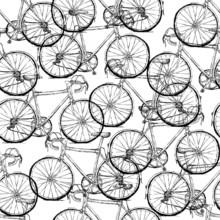 Bicycles. Seamless Pattern