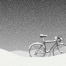 Snow Covered Bicycle Illustrat...