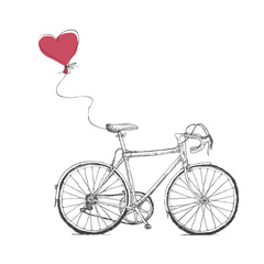 Naklejka Vintage Valentines Illustration with Bicycle and Heart Baloon