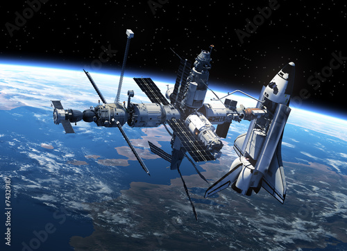 Space Shuttle And Space Station In Space Wallpaper Mural