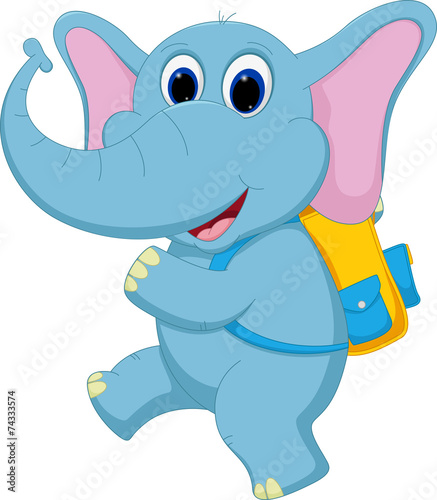 Printed kitchen splashbacks Fairytale World Cute elephant going to school
