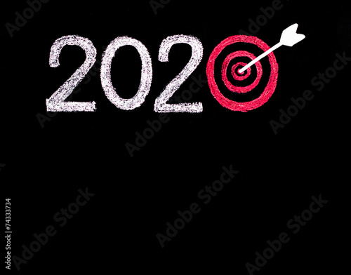 Poster Conceptual image of Year 2020, in shape of a target