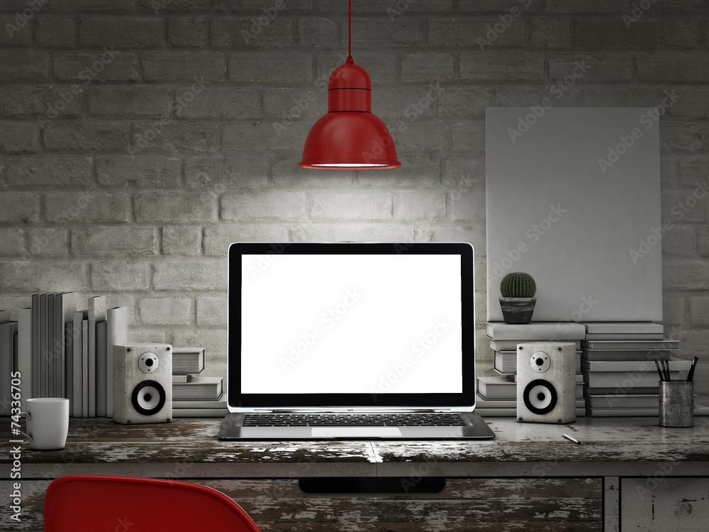Fototapety, obrazy: Laptop in night room, mock up background
