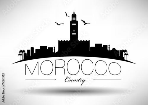 Fotografía  Morocco Skyline with Typography Design