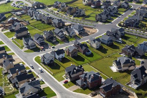 Valokuvatapetti aerial view over townhouses
