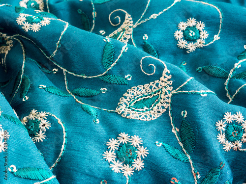 Fotografie, Obraz  Blue fabric with paisley ornament