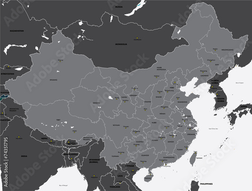 Fototapeta Black and white map of China