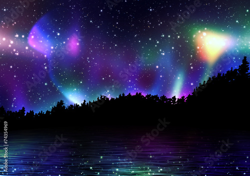 Photo  Colorful Aurora Borealis