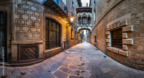Barri Gothic Quarter and Bridge of Sighs in Barcelona, Catalonia #74359977