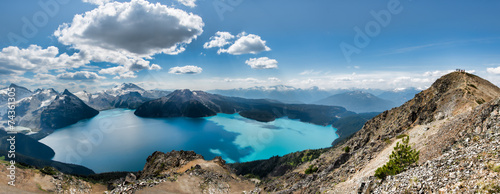 Panorama of Garibaldi lake from Ridge