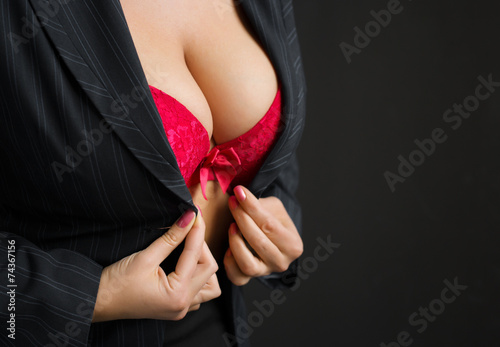 Photo  Sexy business lady wearing red bra