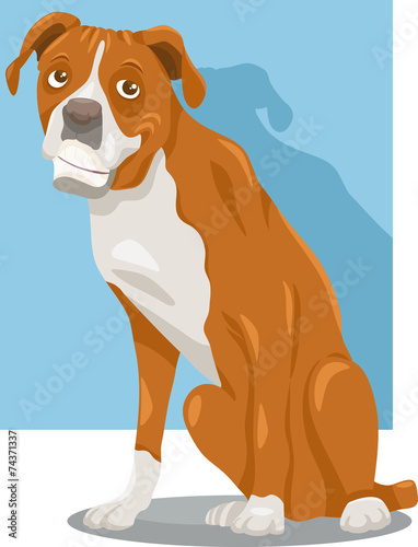 Poster Dogs boxer dog cartoon illustration
