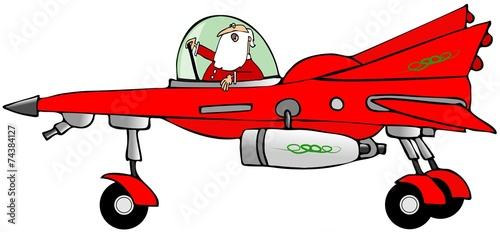Santa in a starfighter Canvas Print