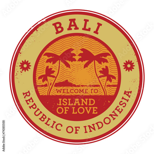 Stamp Or Label With The Name Of Bali Island Vector Buy This Stock