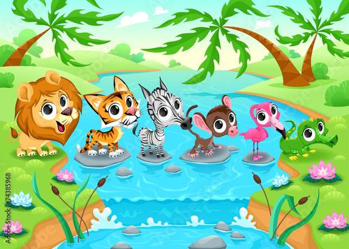 In de dag Kinderkamer Funny animals in the jungle