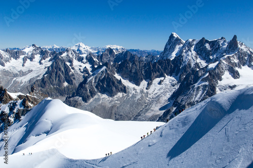 Climber on the way to the top of Mont Blanc Canvas Print