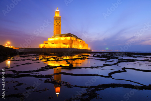 Fotobehang Marokko Hassan II Mosque during the sunset in Casablanca, Morocco