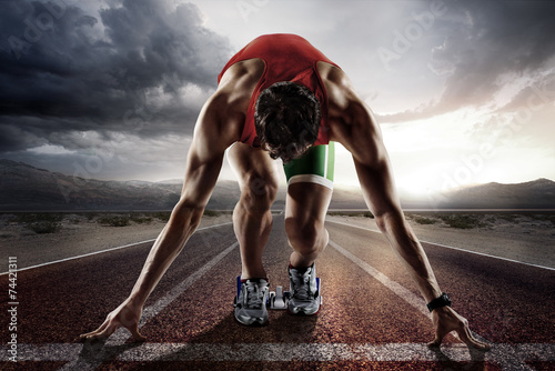 Sports background. Runner. Fotobehang