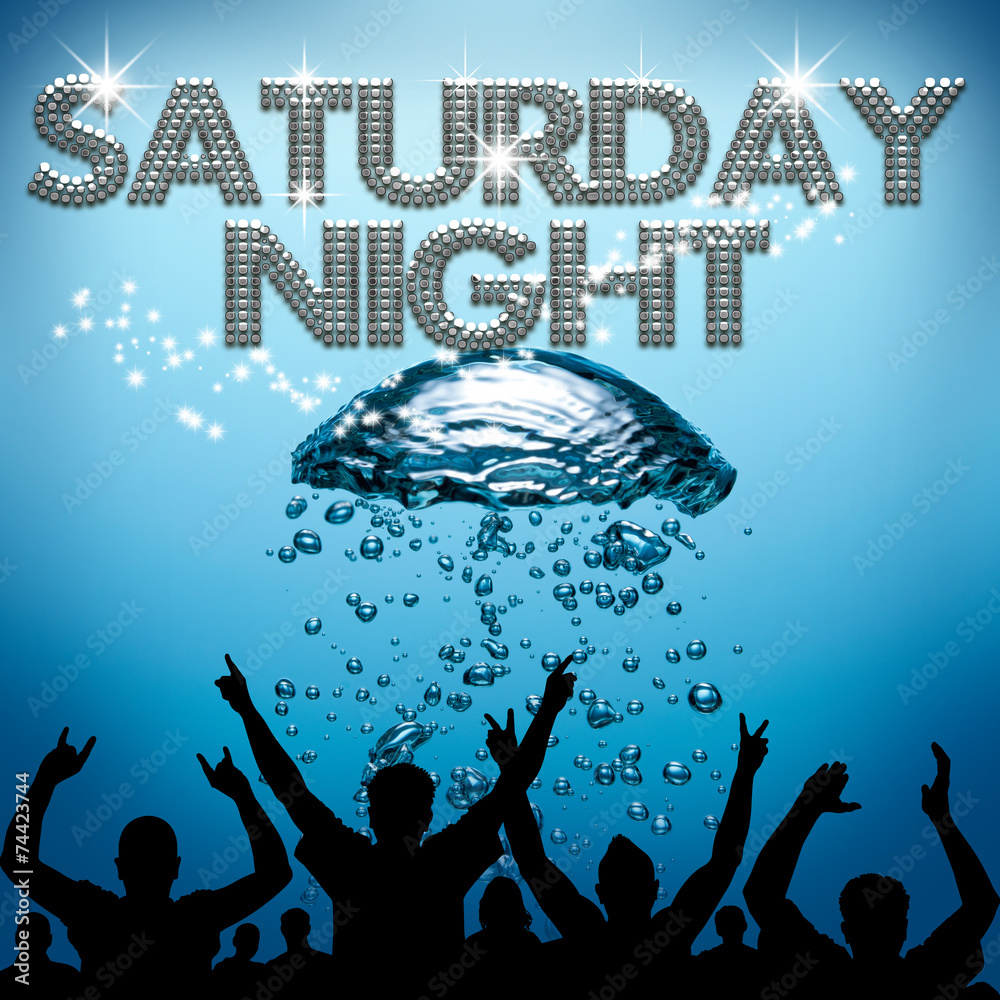 Fototapeta Saturday Night poster underwater diving bubbles
