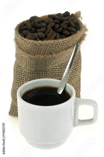 Canvas Prints Coffee beans Tasse de café et sac de café en grains