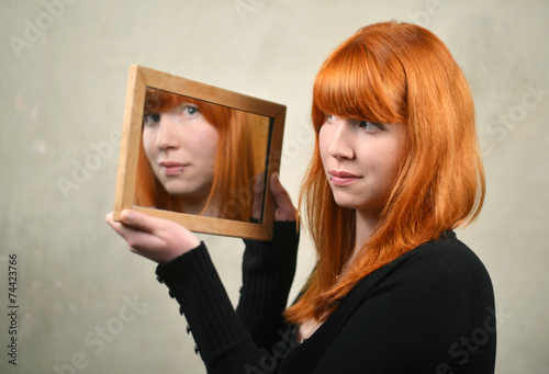 Fotografie, Obraz  Red Hair Woman and the Mirror