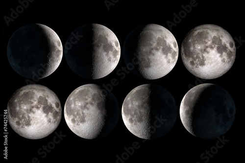 Deurstickers Nasa Moon phases collage, elements of this image are provided by NASA