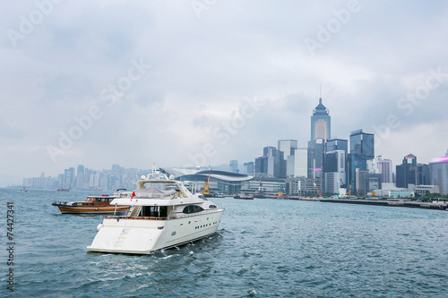 Plakat  yacht,cityscape and victoria harbor of  hongkong