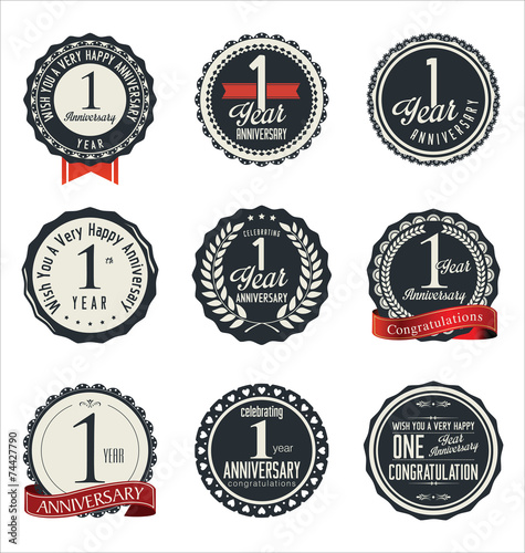 Recess Fitting Retro Anniversary retro badges and labels collection