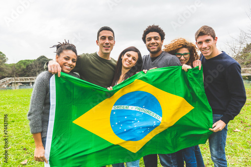 Fotografie, Obraz  Multiethnic Group of Friends with Brazilian Flag
