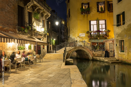 Night view of canal in Venice, Italy - 74438766