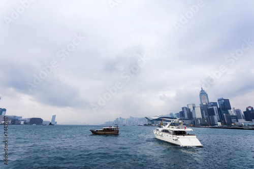 yacht,cityscape and victoria harbor of  hongkong Poster
