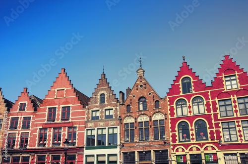 Deurstickers Brugge Market square in Bruges, Belgium. Popular Flemish city
