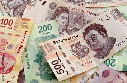 Fotografía  Mexican Peso bank notes background