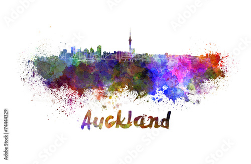 Auckland skyline in watercolor