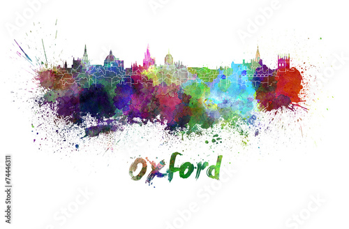 Stampa su Tela  Oxford skyline in watercolor