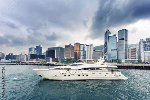 yacht,cityscape and victoria harbor of  hongkong Obraz na płótnie