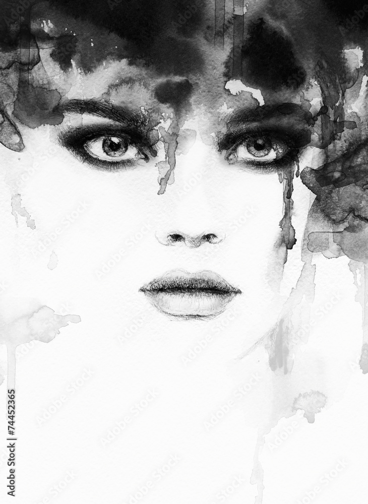 Fototapeta woman portrait  .abstract  watercolor .fashion background